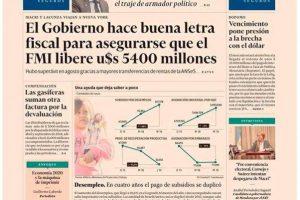Las tapas del lunes: Macri a Nueva York y Lacunza a Washington, por los u$s5.400 millones