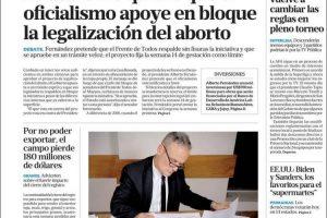 Las tapas del martes 3: Aborto, reforma judicial y fútbol con polémicos cambios en descensos