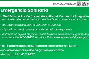 Emergencia Sanitaria: por correo electrónico, web y WhatsApp se pueden realizar denuncias en caso de precios excesivos o faltantes de productos esenciales