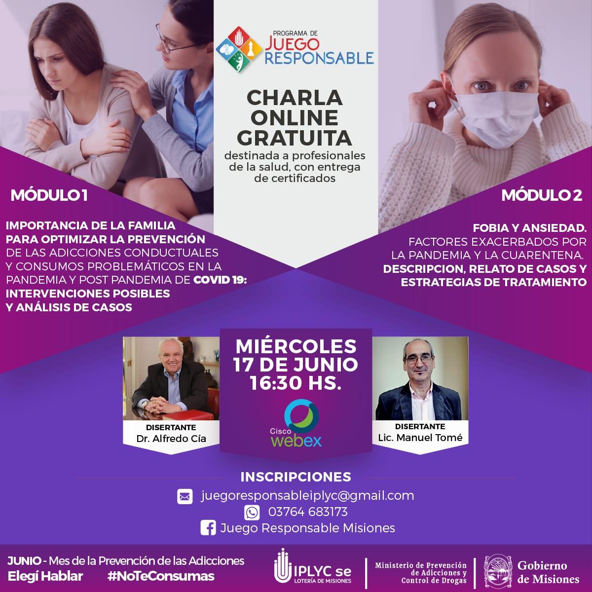 Charla online para profesionales en el Mes de la Prevención de Adicciones