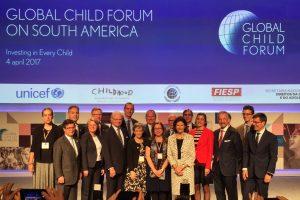 Inauguración oficial. Los Reyes de Suecia, fundadores del Global Child Forum, junto a los oradores principales del Global Child Forum en América del Sur.