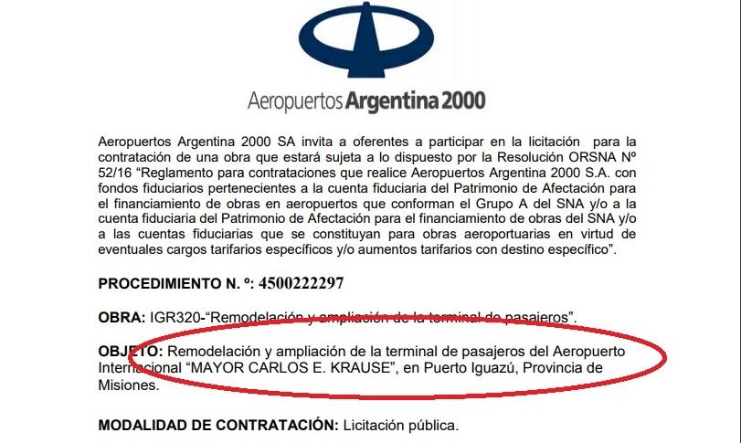 AA2000 lanzó la licitación de $700 millones para la remodelación del aeropuerto de Iguazú