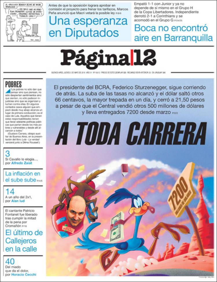 Las tapas de los diarios del jueves 3/5: Entre la carrera del dólar y los partidos de la Libertadores