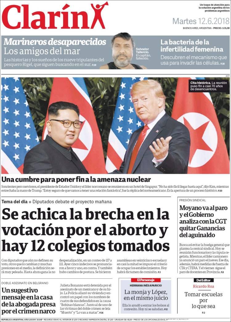 Las tapas de los diarios del martes 12-6: La previa del debate por la despenalización del aborto y la cumbre Trump-Kim