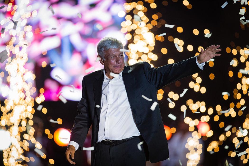 El presidente electo de México, Andrés Manuel López Obrador, tuvo éxito al hacer construir un discurso político desde la izquierda. Credit Manuel Velásquez/Getty Images