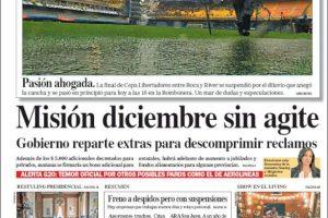Las tapas de los diarios del domingo: Diluvio en La Boca y espectativa para hoy por la final de la Libertadores