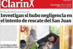 Las tapas del domingo 18: Todas las reacciones ante el sorpresivo hallazgo del ARA San Juan
