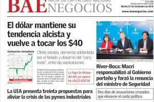 """Las tapas del martes 27: Subió el dólar, sigue la saga de la Libertadores y la marcha por el """"Ni una menos"""""""