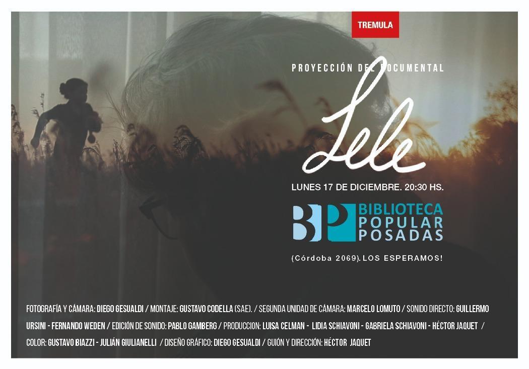 """El documental """"Lele"""" llega al cineclub de Posadas"""