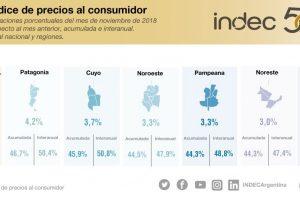 La inflación de noviembre fue del 3,2% según el INDEC y acumula un 43,9% en el año