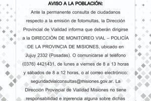 Fotomultas: Recuerdan que los controles no son realizados por Vialidad Provincial