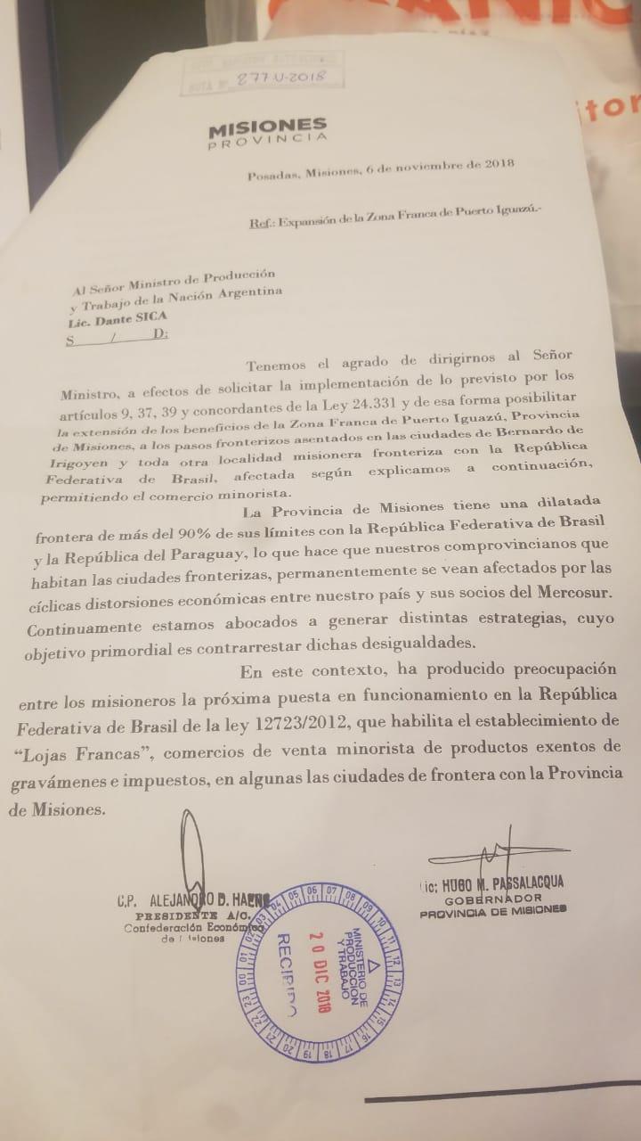 Misiones pide a Macri replicar zonas francas en ciudades de frontera con Brasil