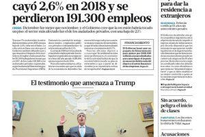 Las tapas del jueves 28: Los datos del Indec sobre la economía en el foco de las noticias