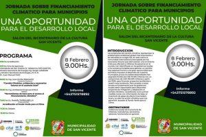 San Vicente: realizarán una jornada sobre financiamientos para programas relacionados al cambio climático