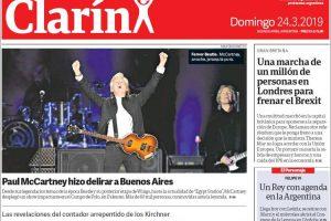 Las tapas de los diarios del domingo 24-3: Paul Mc Cartney volvió a tocar en la Argentina