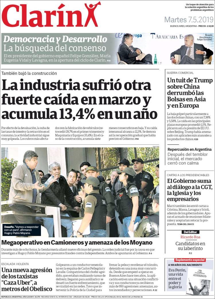 Las tapas del martes 7 de mayo: La fuerte caída de la industria y construcción, y las cartas de Macri