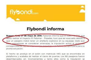 """Un bolu…con vista al mar: Habló de """"bomba"""" a bordo de un vuelo de Flybondi que venía a Posadas y provocó la cancelación"""