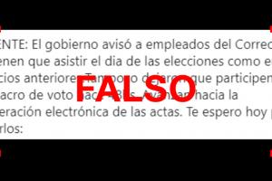 Es falso que le avisaron a los empleados del Correo que no tienen que asistir el día de las elecciones