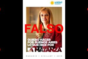 """Es falso el aviso en el que Magario dice: """"Quiero hacer por Buenos Aires lo que hice por La Matanza"""""""