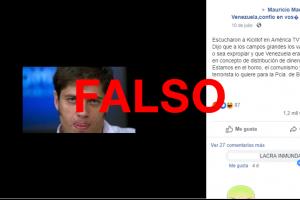Es falso que Kicillof dijo que hay que expropiar los campos y que Venezuela es un país modelo