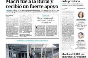 Las tapas del domingo 4 de agosto: Macri hizo campaña en La Rural