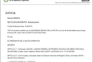 El Gobierno oficializó el nombramiento de Gallandat como Juez Federal de Oberá