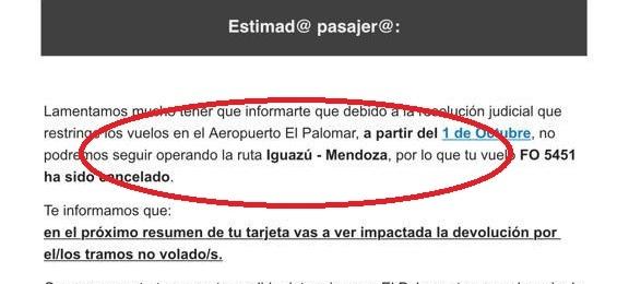 Exclusivo: Flybondi ya canceló la ruta Iguazú-Mendoza y está devolviendo la plata de pasajes vendidos
