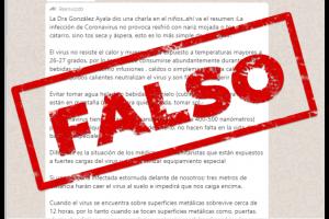 """Coronavirus: es falsa la cadena de la doctora """"González Ayala"""" que circula por WhatsApp"""
