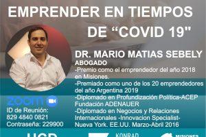"""Matías Sebely charlará sobre """"emprender en tiempos de COVID-19″"""