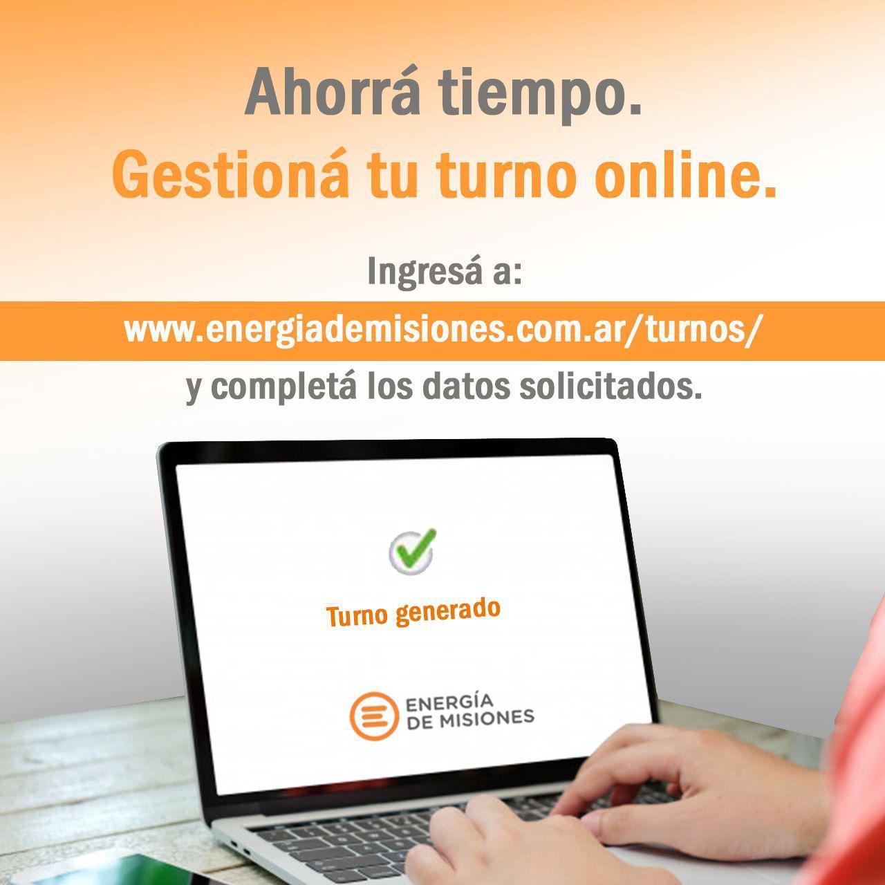 Energía de Misiones habilitó opción para gestionar turnos online