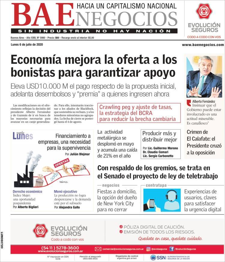 Las tapas del lunes 6: Argentina mejora la oferta por el canje, se conoció la autopsia de Gutiérrez