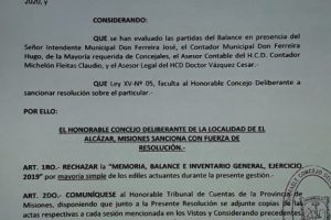Concejales rechazaron el balance en el Municipio de El Alcázar