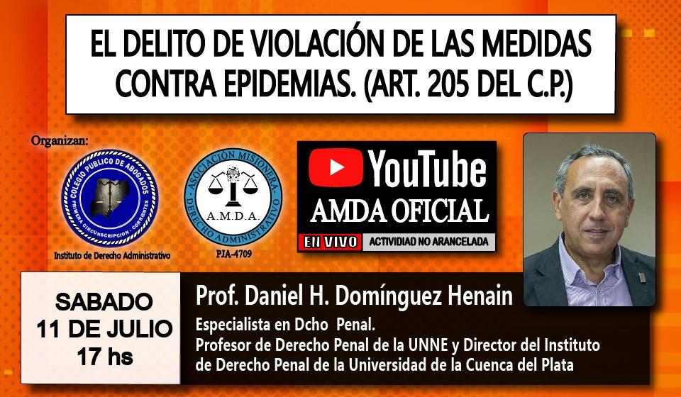"""Disertarán sobre """"el delito de violación de las medidas contra epidemias"""""""