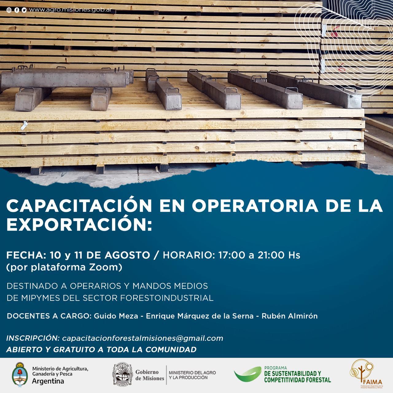 Capacitación en operatoria de la exportación para el sector forestal