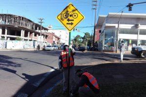Posadas: mejoraron la señalización de ciclovías y repararon semaforos