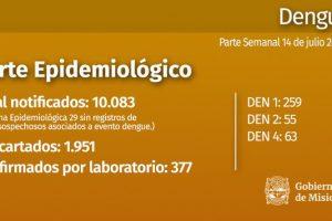No se registraron nuevas notificaciones ni casos positivos de dengue en una semana
