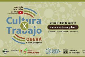 Cultura X Trabajo, el festival solidario online se realizará esta tarde en Oberá