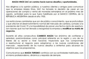 Pandemia y cepo: Cambios Mazza cierra sus puertas