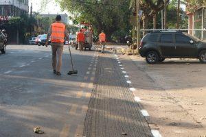 Posadas: comenzaron con las tareas de demarcación en las ciclovías