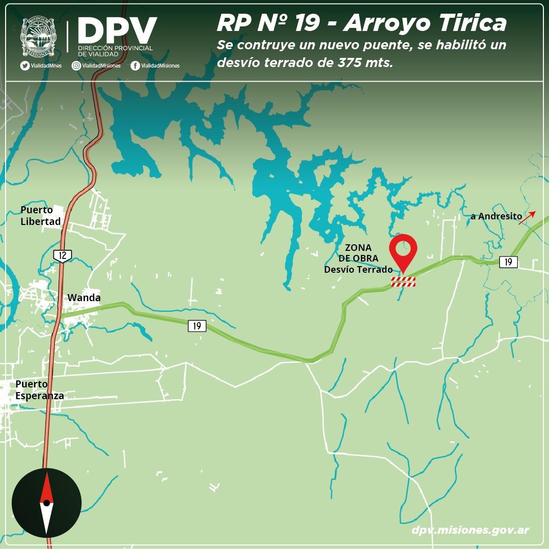 Vialidad construirá un nuevo puente en medio de la selva en la ruta 19