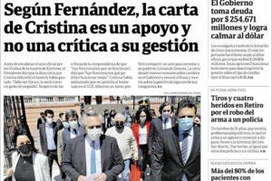 Las tapas del miércoles 28: Repercusiones por la carta de CFK