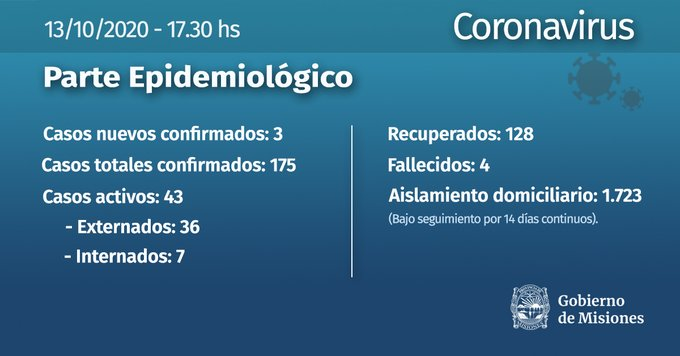 Coronavirus: con 3 casos nuevos Misiones llega a los 175 contagios