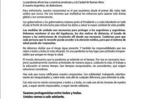 """""""Unidos vamos a salir adelante"""", la solicitada que firmó Herrera Ahuad y el resto de los gobernadores"""