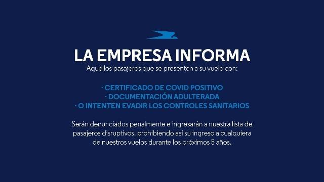 Después del caso de Misiones Aerolíneas denunciará a los que evadan controles sanitarios por Covid