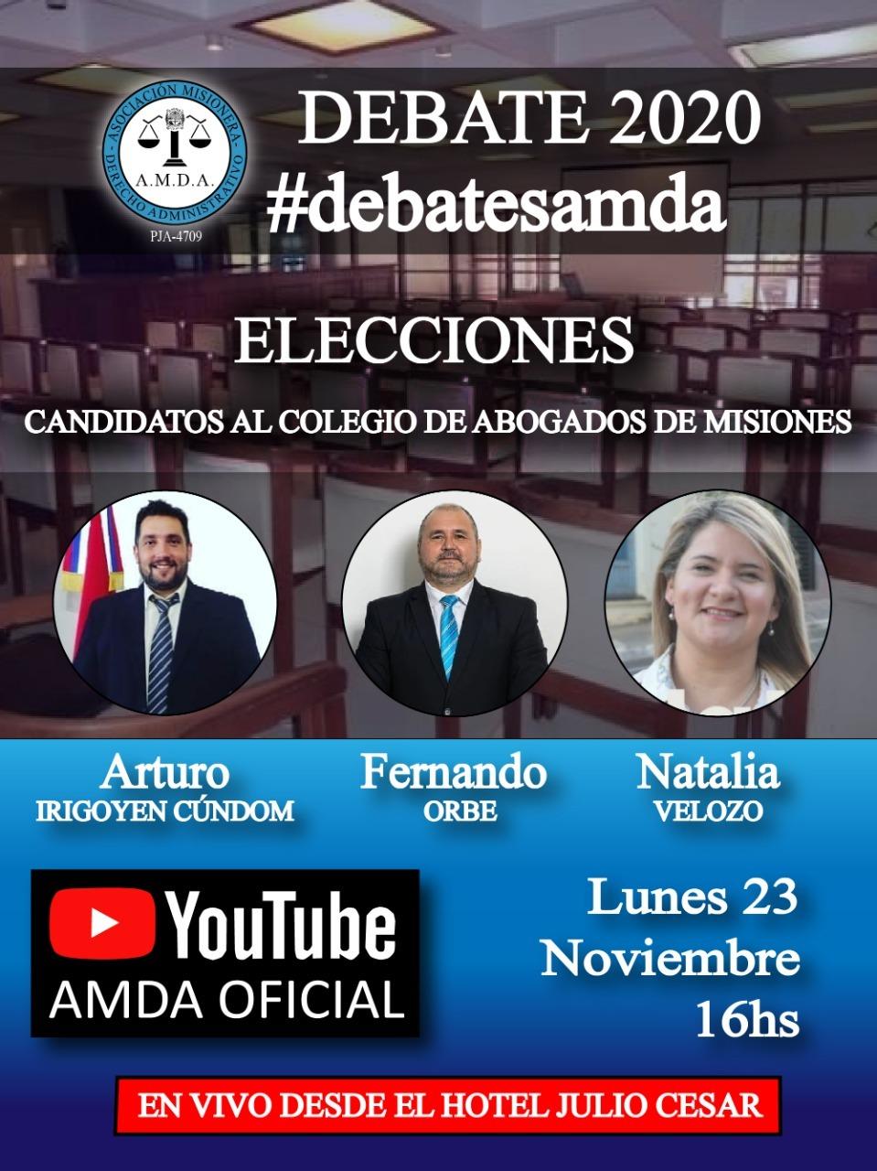 AMDA organiza un debate entre los candidatos a presidir el Colegio de Abogados de Misiones