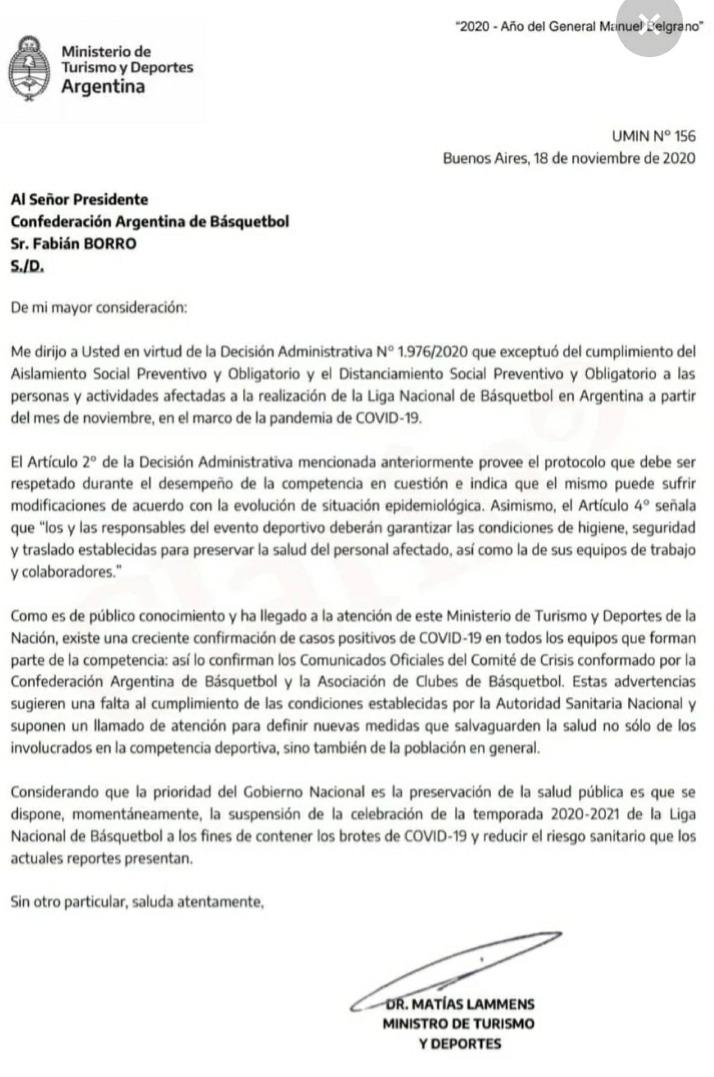 Se suspende la Liga Nacional de Básquet