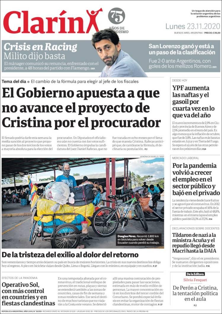 Las tapas del lunes 23: YPF y un nuevo aumento; crisis en Racing