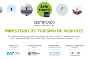 Misiones recibió el Sello Safe Travels como destino Seguro y Responsable