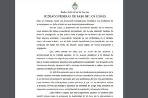 Inédito en Corrientes: ordenaron a Facebook a eliminar una fake news en Libres