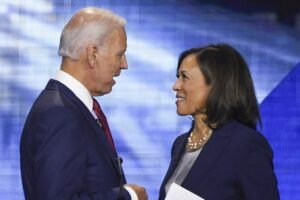 Former Vice President Joe Biden and Senator Kamala Harris speak on September 12, 2020, in Houston, Texas, after the third Democratic primary debate of the 2020 presidential campaign season hosted by ABC News in partnership with Univision at Texas Southern University in Houston, Texas. - Biden named Harris, a high-profile black senator from California, as his vice presidential choice on August 11, 2020, capping a months-long search for a Democratic partner to challenge President Donald Trump in November. (Photo by Robyn Beck / AFP)